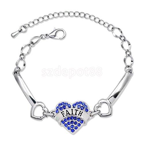 Trendy Love Heart Crystal Family Gift Metal Link Bracelet Bangle Women Jewelry Blue Faith by uptogethertek