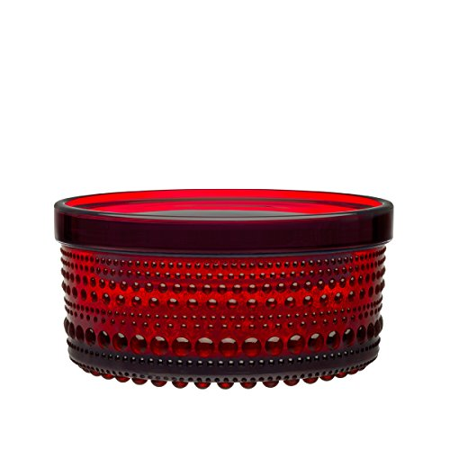 Vase Cranberry Glass (Iittala Kastehelmi Dewdrop Cranberry Glass Jar)
