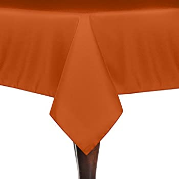 Exceptional Ultimate Textile 70 X 70 Inch Square Polyester Linen Tablecloth Orange
