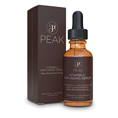 Vitamin C Serum with Hyaluronic Acid - Organic and Natural Ingredients – 20% Vitamin C Serum. 1oz, By Peak.