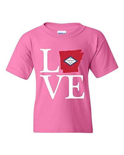 NIB Love Arkansas State Flag Traveler`s Gift Unisex Youth Shirts (YLAP) (Arkansas University State Golf)