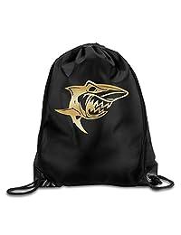 Great White Shark Vinyl Decal Sticker Gold Logo GYM Drawstring Backpack Bag