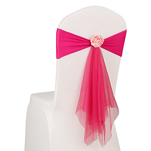 Boshen 10/20/50pcs Spandex Stretch Chair Sashes Organza Chair Bows with Removable Decorative Artificial Rose Flower for Wedding Banquet Birthday Party Reception Events
