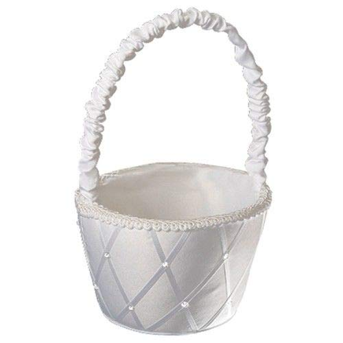 (Agordo Flower Girl Basket Wedding Collection Traditional White G1N4)