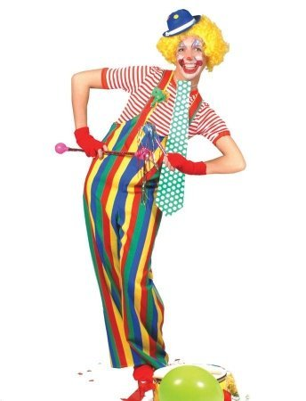Striped Clown Overalls Ad Med (Adult Overalls Clown Costumes)