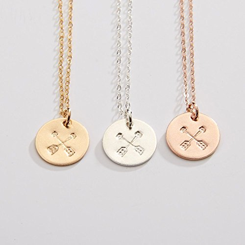 Friendship Crossed Arrows Necklace - BFF- Girlfriend gift - Bridesmaids Gift -1/2 inch - Sterling Silver, 14k Gold Filled, 14k Rose Gold Filled, - CG214N.
