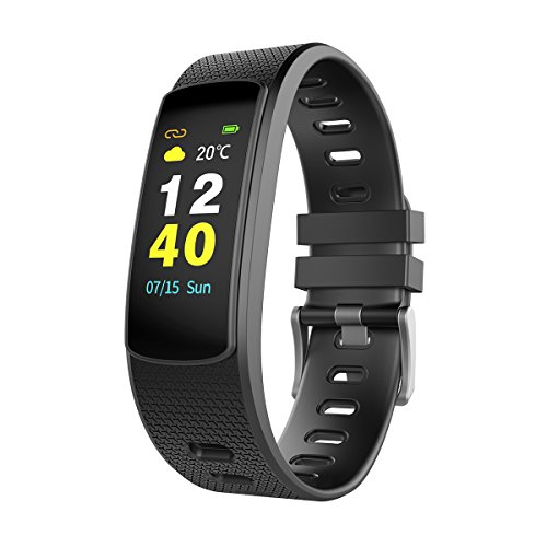 OUMAX Fitness Tracker T5 with Heart Rate, Color Touch Display, Activity Tracker and Auto Sleep Monitor, Call and Text Alert, Sport Modes for iOS & Android Devices-Black