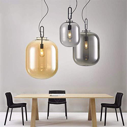 (BOSSLV Pendant Lamps Lights Vintage Iron Painted Pearl Black Minimalist Pendant Lamp E27 220V Led Hanging Light Fixture Restaurant Bedroom Dining Room Cafe, Amber d 35cm H43cm)
