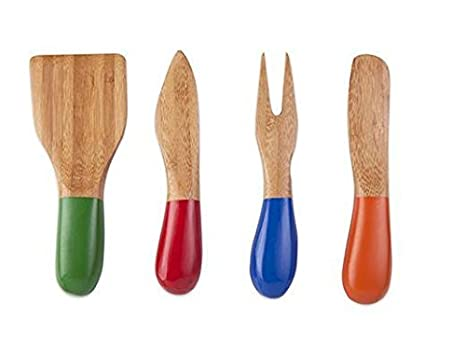 Kikkerland CU236 Bamboo Set Cheese Knives (Set of 4), Multicolored