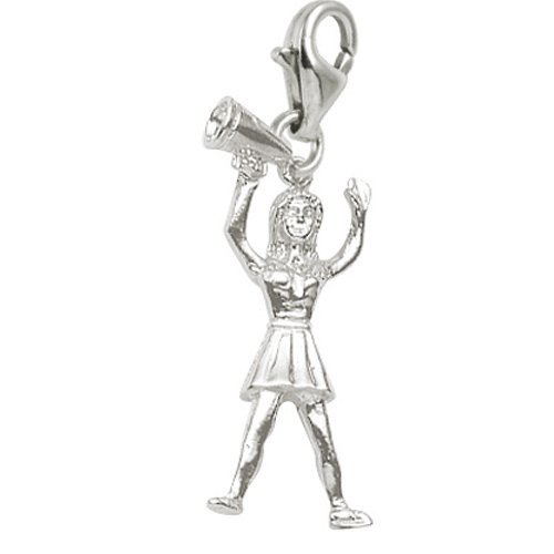 14k White Gold Cheerleader Charm With Lobster Claw Clasp, Charms for Bracelets and Necklaces