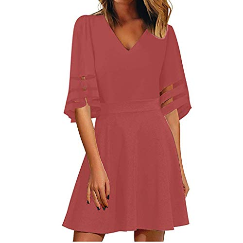 Womens Dresses 2019 Casual Summer Sweet & Cute V Neck Mesh Panel Dress 3/4 Bell Sleeve T-Shirt Loose ()
