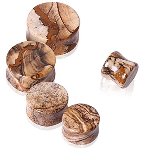 Covet Jewelry Natural Picture Jasper Stone Saddle Plug -