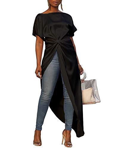 (MS Mouse Women's Short Sleeve Side Split Long Tops T Shirts Irregular Dresses S)