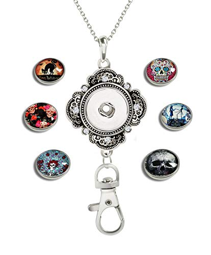 XuSuJuan Image Custom Women Office Lanyard ID Badges Holder Crystal Necklace Keychain with 6 pcs Glass Snap Charms Button (A1 Skull and Others)