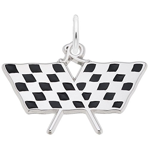 Racing Flag Charm In 14k White Gold, Charms for Bracelets and Necklaces - 14k Racing Flags