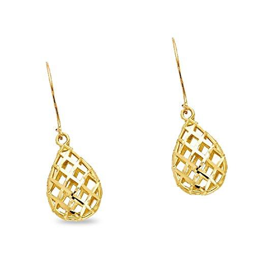 Teardrop Dangle Earrings Solid 14k Yellow Gold Mesh Drop Hanging Style Diamond Cut Genuine 15 mm ()