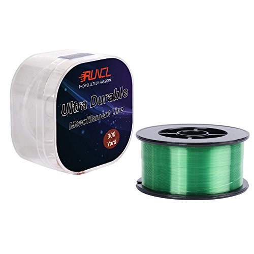 RUNCL Monofilament Fishing Line, Nylon Mono Line 300Yds/274M with Zero Memory for Freshwater and Saltwater (Green, 19LB(8.9kgs)-300Yds) For Sale