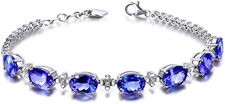 Nobrand 925 Pulseras de Plata de Ley para la Mujer con Zafiro Azul Piedra Preciosa señora joyería Fina Regalo