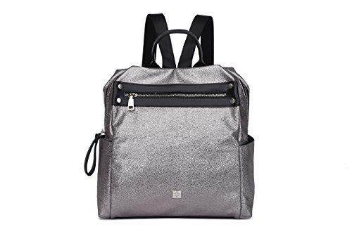 Metálico y plateada DE OTROS MAMBO mochilas mochilas piel vintage vestir moda MUNDOS de metalizada mujer efecto de casual RHqCTg