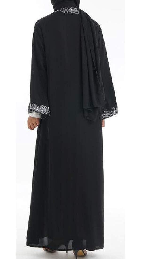 KLJR Women Floral Printing Muslim Middle East Arabia Cardigan Robes Maxi Dress