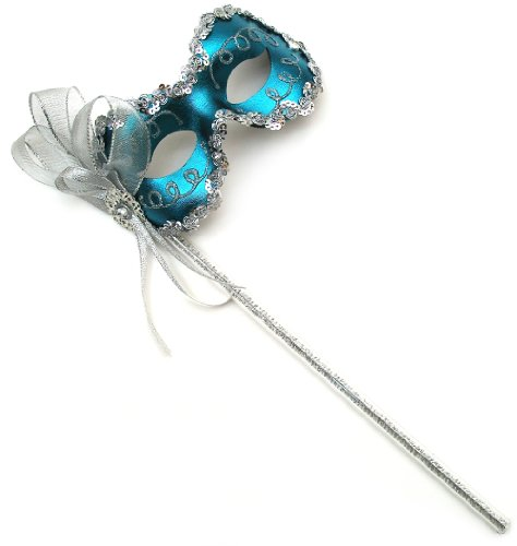 Success Creations Angelina Teal Women's Masquerade Mask on a Stick