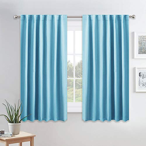(PONY DANCE Blue Mist Curtains - 54 inch Long Window Drapes Short Drapery Thermal Insulated Curtain Panels with Back Tab Light Block for Bedroom Bathroom/Kitchen, 52