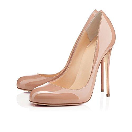 Womens Smart Toe Beige Round High Shoes 12CM Soireelady Heels Ladies Court Tq6wZdRd
