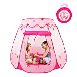KIDAMI Pink Princess Pop Up Play Tent for Toddlers and Girls, No Assembly Required with Easy Storage Carry Case, As Convenient Playhouse for Pretend Play or Ball Pit Indoor and Outdoor