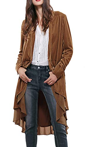 R.Vivimos Womens Ruffled Asymmetric Long Velvet Blazers Coat Casual Jackets (XL, Brown)