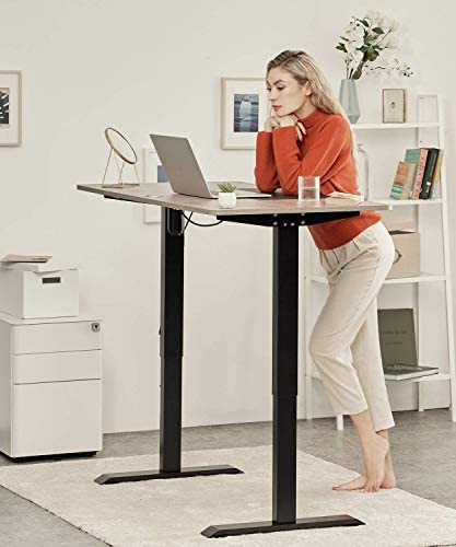 CLATINA Adjustable Height Standing Desk with Electric for Sit Stand Up Computer Home and Office 55 x 28 Inch Willow Top Black Frame