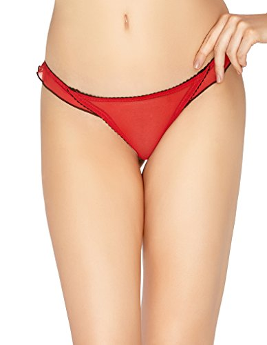 Mio Classic Poppy Red and Black Thong M162C Large