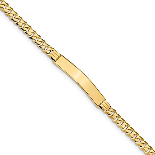 Real 14kt Yellow Gold Curb Link ID Bracecet; 7 inch ()
