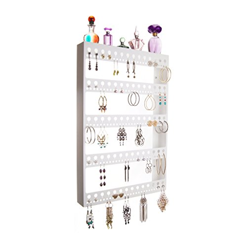 Angelynn's Jewelry Organizers Wall Mount Earring Holder Jewelry Organizer Hanging Closet Storage Rack with Shelf, Nichole White (X-large Tall Cabinet)