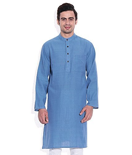 Royal Kurta Men's Summer Wear Fine Cotton Blended Straight Kurta 44 Blue