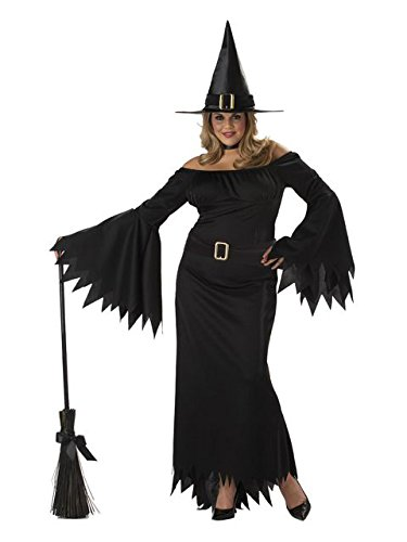 [California Costumes Women's Plus-Size Elegant Witch Plus, Black, 3X] (Sexy Fairy Halloween Costumes)
