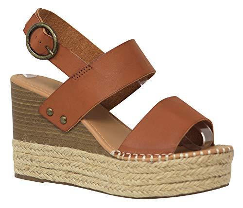 (MVE Shoes Women's Ankle Buckle Espadrille Platform Sandals, Trip TAN PU 11 )