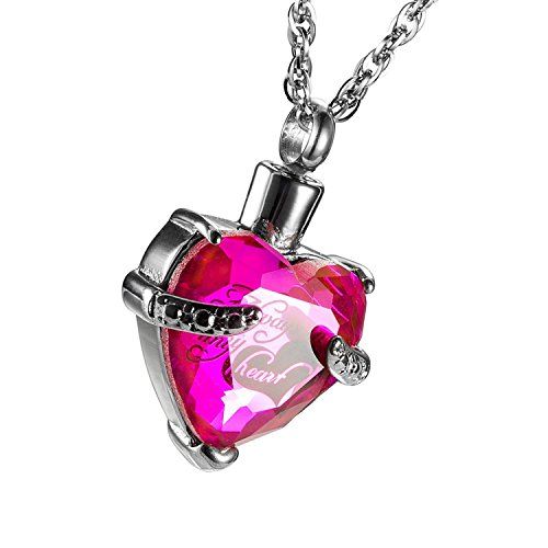 316L Stainless Steel Crystal Always In My Heart Memorial Cremation Ash Urn Pendant Jewelry (October) (Urn Pink Glass)