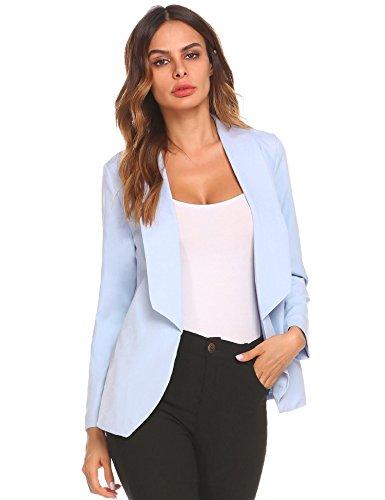 Meaneor Blazer Femme Cintr Casual Slim Fit Costume De Bureau Avec Doublure Satine Lintrieur Bleu