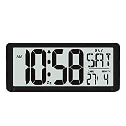 TXL 15.4 Jumbo Digital Alarm Clock Extra Large LCD Display 4.4 Bold Font Calendar Temperature Count-Up Countdown Timer, Battery Operate Office Kitchen School Warehouse Gym Wall/Desk,Black