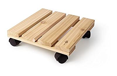 Wood Plant Caddy. Combine This Cedar Rolling Stand with Decorative Flower Pot to Decorate Your Home, Patio, Deck or Poolside. This Wooden Wheeled Dolly Is Perfect for Indoor & Outdoor Decoration