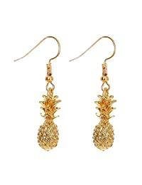 18K Gold Plated Golden Pineapple Charm Dangle Drop Earrings