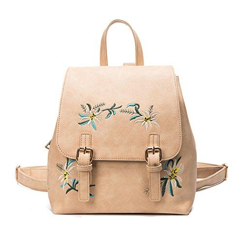 Frauen Mädchen PU-Leder Kleine Rucksack Weinlese Blumenstickerei Schultaschen Umhänge Tasche Tagesrucksack Khaki