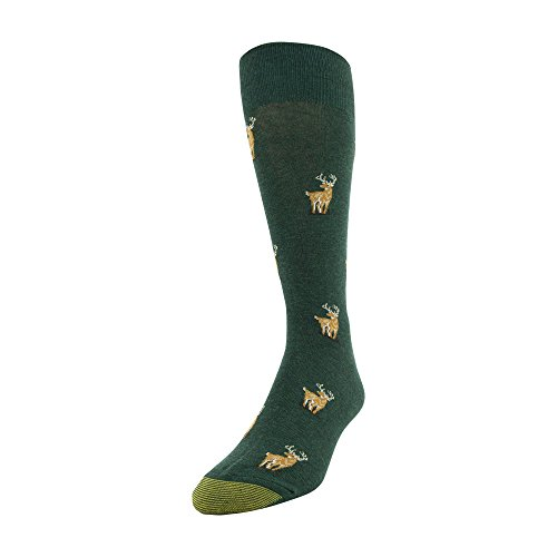 Gold Toe Men's Printed Novelty Graphic Fashion Dress Crew Socks, 1 Pair, Deer Green, Shoe Size: 6-12.5 ()