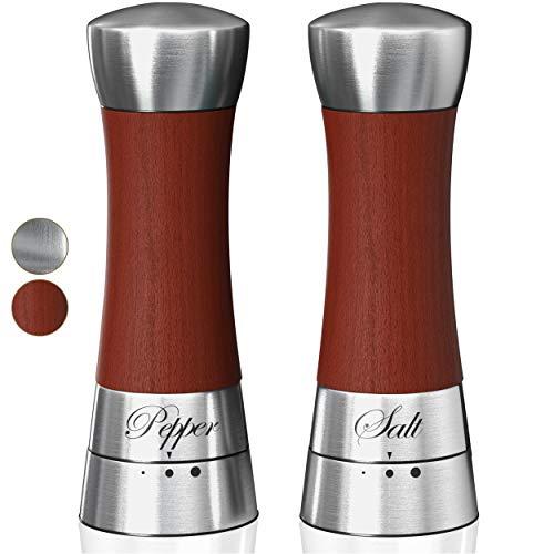 - Premium Salt and Pepper Grinder Set. Grinding Shakers Present Set. Perfect Gift Idea for Wedding, Housewarming, Anniversary, Engagement, Birthday. (Wood)