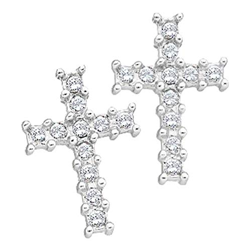 Aienid 10K White Gold 0.11Ct Round Diamond Ladies Cluster Cross Earrings for Women ()