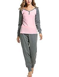 Women's Boat Neck Long Sleeve Shirt Elastic Waist Pants Sleepwear Pajamas Set