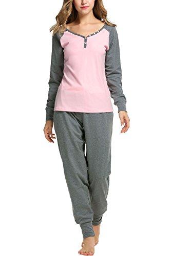 - Sweetnight Women's Boat Neck Long Sleeve Shirt Elastic Waist Pants Sleepwear Pajamas Set (M, Pink)