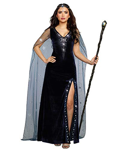 Dreamgirl Women's The Sorceress Dramatic Velvet Costume Gown, Navy Blue -