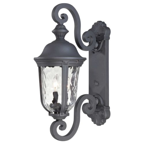 8991-66 Ardmore - Two Light Outdoor Wall Mount, Black Finish with Clear Hammered Glass (Ardmore Outdoor 2 Light)