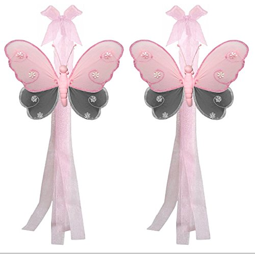 Butterfly Curtain Tiebacks Gray Grey Pink Hailey Nylon Butterflies Pair Set Decorations Window Treatment Holdback Sheer Drapes Holder Drapery Tie Back Baby Nursery Bedroom Girl Room Decor Home DIY